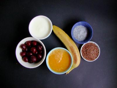 ingrediënten smoothie banaan kers sinaasappel