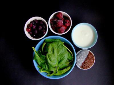 smoothie spinazie blauwe bes kers ingrediënten