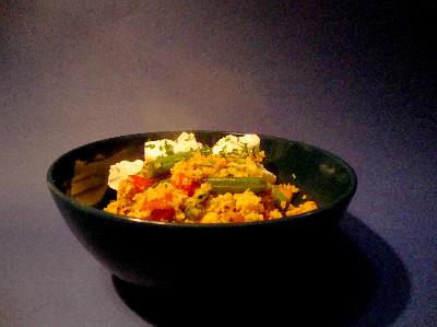 MM - couscous met groenten en geitenkaas in kom