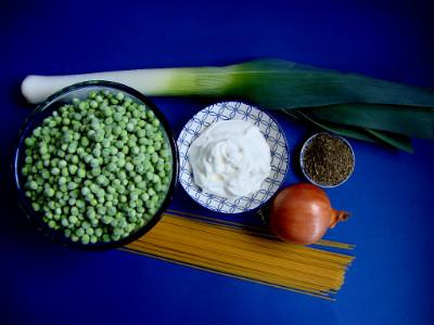 MM - pasta met prei en erwtjes ingr