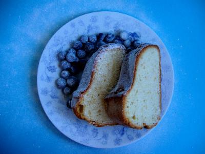 cream cheese cake geserveerd
