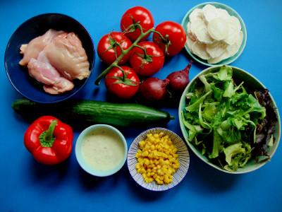 salade met kip en geitenkaas ingrediënten